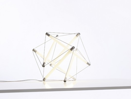 lightstructure  ingo maurer u0026 39 s new geometric led lamps are suspended by power rods