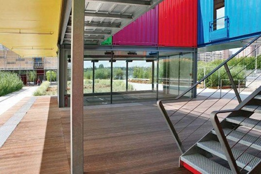 Man Architecture, Renault, recycled shipping containers, Pavilion, Paris, Île Seguin, Cargotecture, Daylighting, Green Materials,