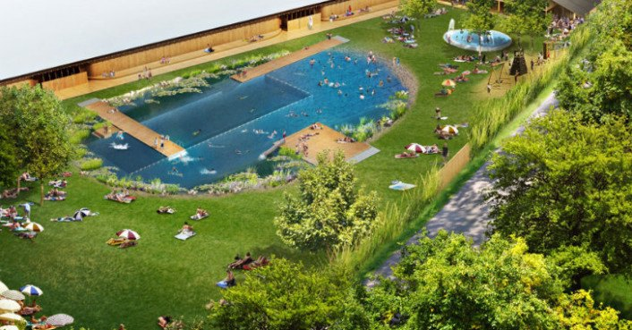 Herzog de meuron 39 s naturbad riehen natural swimming pool breaks ground in switzerland for Natural swimming pools los angeles