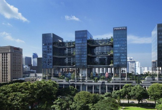 Park Royal Hotel Singapore, WOHA Architects, Singapore architecture, hotel architecture, solar power, solar energy, solar-powered hotel Singapore, vertical garden Singapore, Park Royal on Pickering, BCA Green Mark Platinum, Solar Pioneer Award, vertical park, green hotels, green architecture