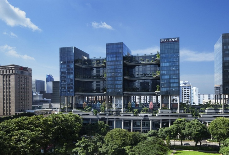 Park Royal Hotel Singapore, WOHA Architects, Singapore architecture, hotel  architecture, solar power