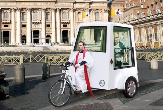 Popemobile, Hybrid Popemobile, Pedal-powered Popemobile, Yannick Read Popemobile, ETA, Mercedes Popemobile, hybrid cars, human-powered vehicle, hybrid tricycle, Pope Francis, green transportation, green vehicle Pope, zero-emission vehicle