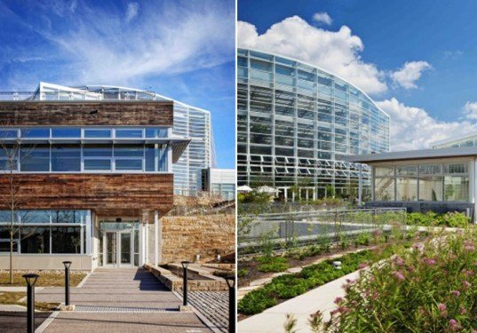 Botanic gardens, garden, green building, green roof, LEED, LEED platinum, Living Building Challenge, Phipps Conservatory, Pittsburgh, sustainable design, Sustainable Sites Initiative, The Design Alliance Architects, rainwater collection, solar energy, geothermal, wind energy,