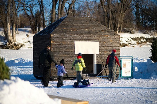 Aamodt Plumb Architects, The River Trail at The Forks, Winnipeg, Manitoba, Smokehouse, Rebecca Howdeshell, The Warming Huts v.2013: An Art + Architecture Competition on Ice, green architecture, sustainable architecture