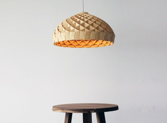 Edward Linacre, The Nest Lamp, Melbourne Movement, australian design, bamboo veneer, interlocking, Green Lighting, Green Materials