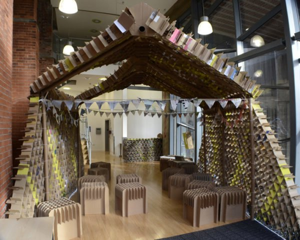 Newcastle University's students teamed up with engineers and architects to build a pop-up café made entirely from recycled plastic bottles and cardboard boxes. The Trash Café is part of the University's larger