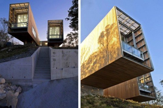 MacKay-Lyons Sweetapple Architects, Two Hull House, Canada, Nova Scotia, sustainable design, eco-design, green design, daylighting, geothermal energy, cantilevering houses, wood,