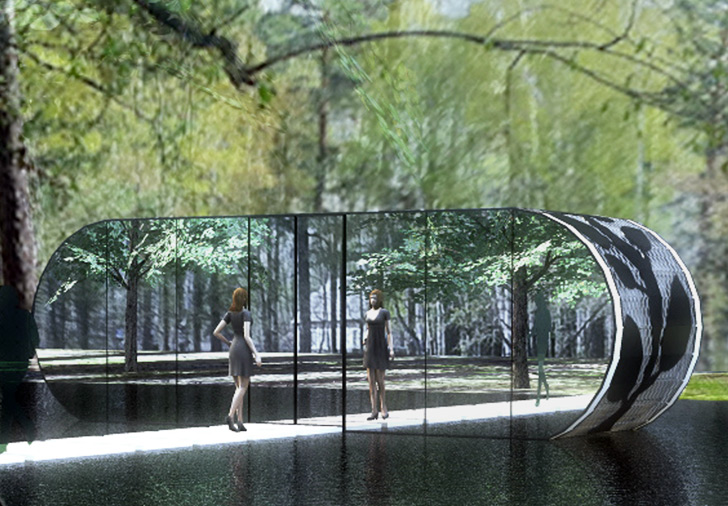 Green Cabinet's Mirrored Pavilion is Made From a Recycled Shipping Container