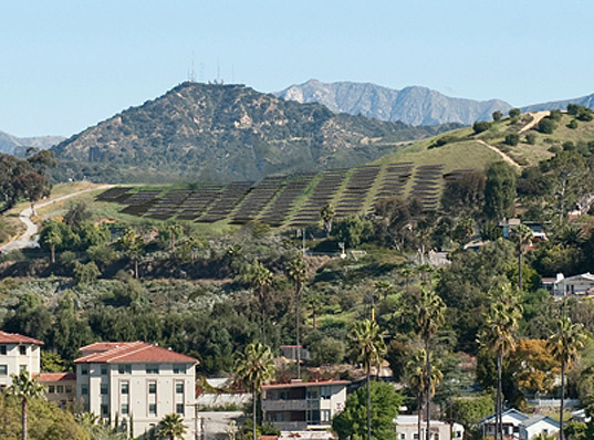 Occidental College recently powered up an urban hillside solar array that combines science, engineering, urban design and art.