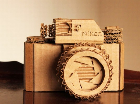 Cardboard Nikon Camera, Marta Crass, eco art, cardboard art, cardboard camera, sustainable design, green design, cardboard model, cardboard, recycled cardboard, recycled materials, sustainable materials