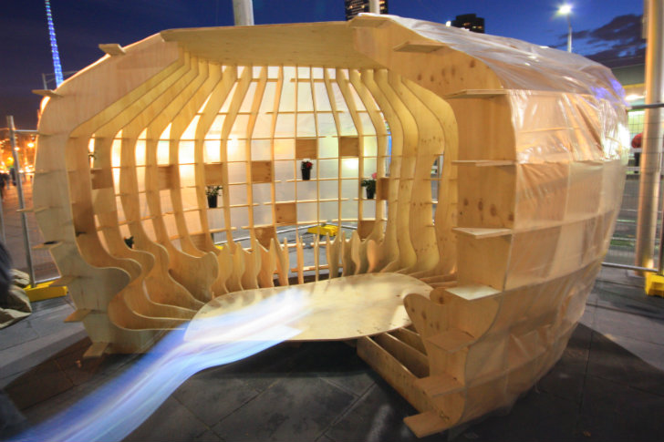 D Exhibition Melbourne : Bvn architecture unveils d puzzle emergency shelter at