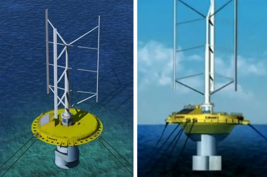 Hybrid wind and ocean current turbines, floating wind turbine, vertical axis wind turbine, ocean currents, tidal turbines