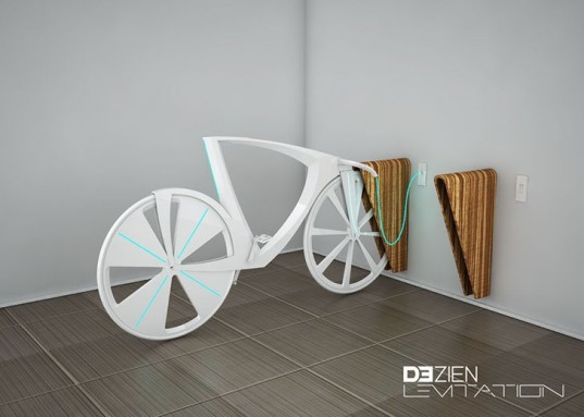 Levitation Bike. magnetic levitation bike, bicycle design, Hi-Macs material, eco-friendly Hi-Macs, green materials, energy generating bike, cycling, green transportation, rapid prototyping, digital fabrication, high-tech bike