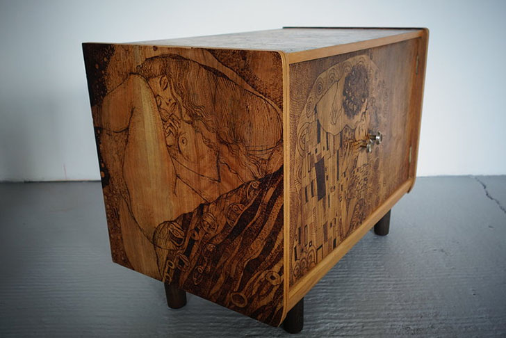 Vinella U0026 Krupa Give New Life To Dated Furniture With Paintings And  Pyrography