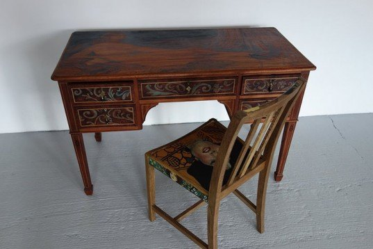 Vinella/Krupa, upcycled furniture, Art Nouveau, pyrography, wooden furniture, klimt, Edinburgh, Art, green furniture