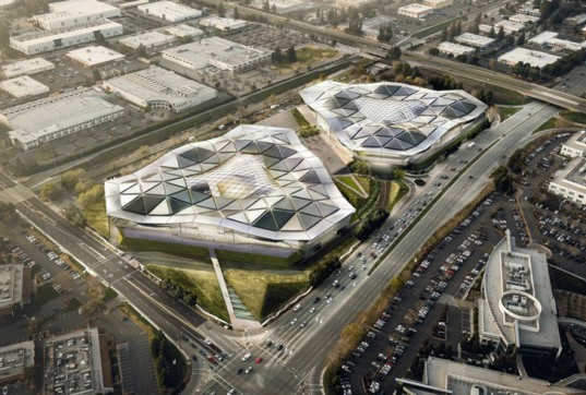 Nvidia Headquarters, Nvidia, Apple campus, Google headquarters, Facebook headquarters. triangular buildings, headquarters, California architecture, company campus design, Gensler, faceted glass roof, tech moguls architecture