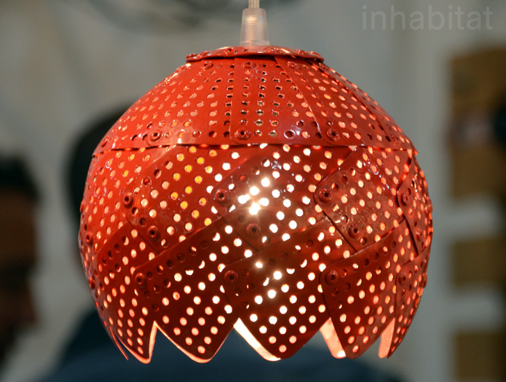 Nadia Belalia Recycled Kitchen Colander Lamp Inhabitat Green Design Innovation Architecture Building