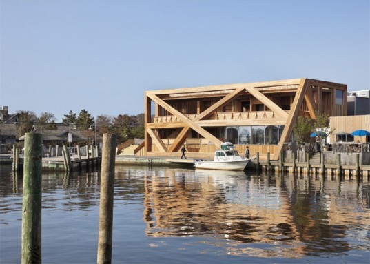 HWKN Fire Island Pines Pavilion, Fire Island Pines Pavilion, Fire Island Pines resort, gay resort New York, wooden building, New York club, green renovation, natural ventilation, green building, beach club New York, wooden club Fire Island Pines