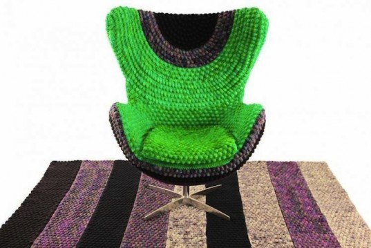Wanted Design, New York Design Week, Sinje Ollen, textile arts, textile designers from New York, New York green designers, sustainable design, green design, eco-design, clothing for furniture, knitted covers for furniture, green interiors, Berry Pi, Arne Jacobsen Egg Chair
