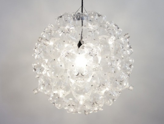 Souda S Luminous Bubble Chandelier Is Made From Bottles