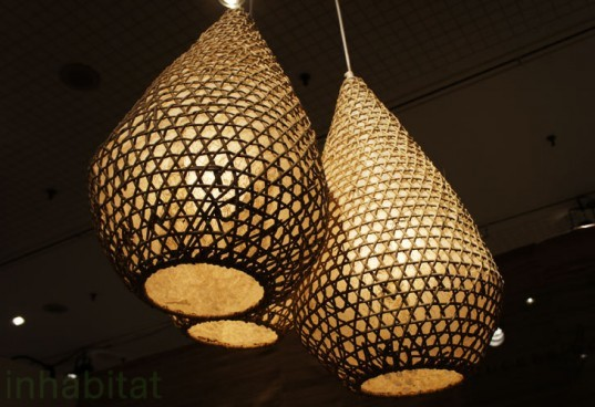 green design, eco design, sustainable design, Tucker Robbins, ICFF, rattan lamps, fishing basket lamp, salvaged lamps