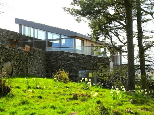 sheep's wool insulation, green design, sustainable design, eco design, sustainable scottish farmhouse, stone farmhouse in scotland, wind-powered home in scotland, wind energy, solar energy, green roof home in Scotland, triple glazing, energy efficiency, UK energy standards