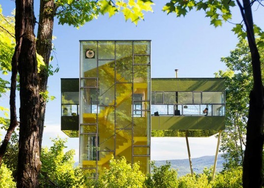 Tower House, GLUCK+, Residential, Treehouse, Modern, Architecture, Modular, Thomas Gluck, cantilever, solar chimney, energy conservation