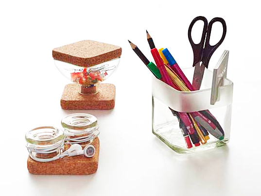 handy cork office accessories, lucirmas, sustainable design, green design, recycled materials, sustainable office