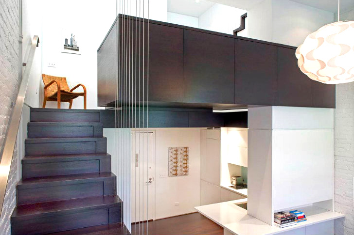 Clever 425 sq. ft. Manhattan Micro-Loft Stacks Upwards for More Space