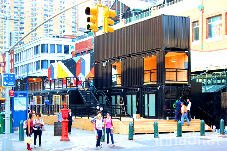 South Street Seaport Shipping Container Beer Garden Smorgasbar And Shops Are Now Open For Business