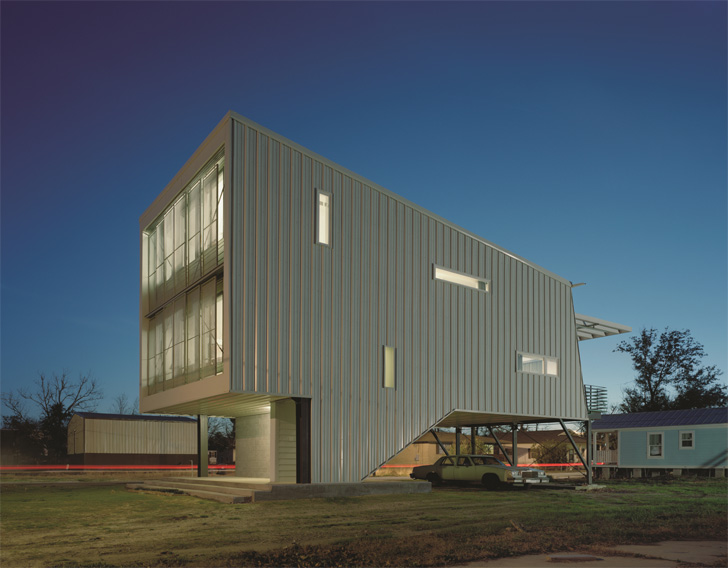 The Porchdog House was designed in response to Hurricane Katrina's devastation of the Gulf Coast.  The home is designed to withstand Hurricane winds and storm surges.