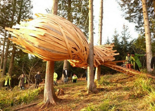 AA Design & Make, Hooke Park buildings, AA students, cocoon structures, cocoon lightweight homes, treehouses, floating homes, Caretaker's House, Eco-Capsule Hooke Park, plywood architecture, student work