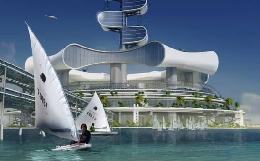 Grand Cancun, clean energy, renewable energy, solar power, wave energy, offshore eco-platform, wind energy, rainwater harvesting, desalination, Cancun 50th anniversary, green design, sustainable design, ocean cleanup system, zero carbon footprint