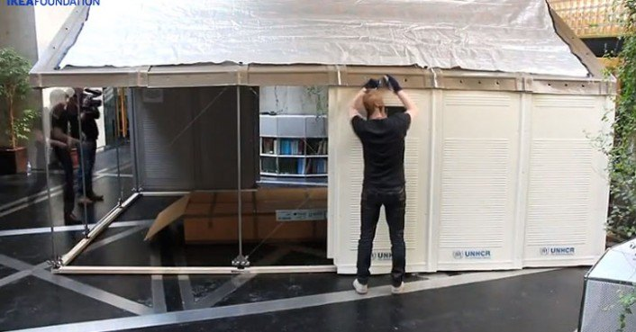 Portable Deployable Emergency Shelter : Ikea unveils solar powered flat pack shelters for easily