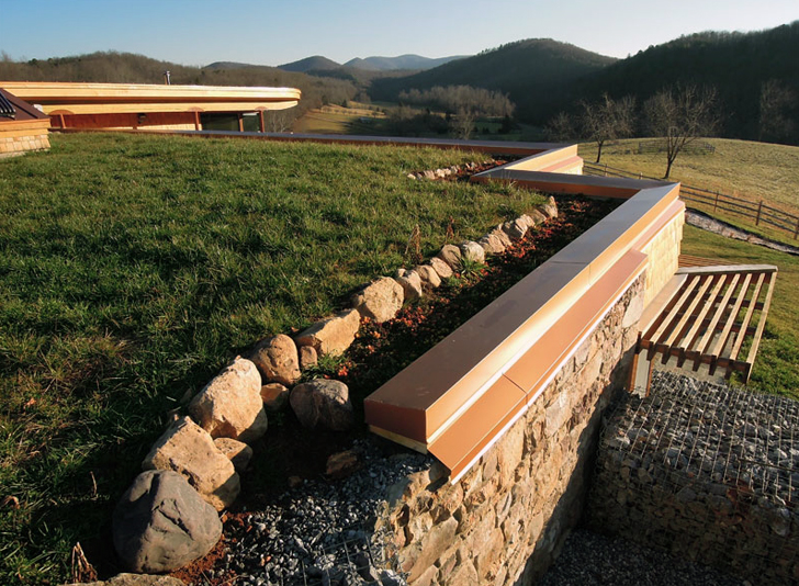 Sheep graze on earthship farmstead 39 s grassy roof for Architecture kapla