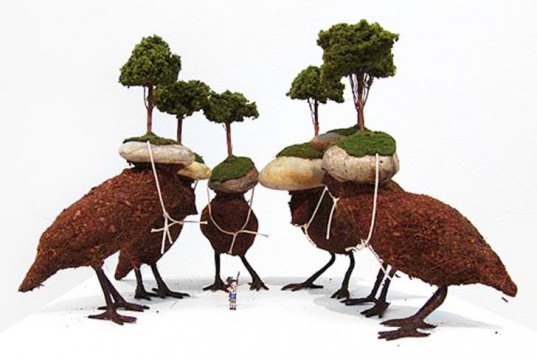 Mylyn Nguyen, tiny art, biodegradable materials, moss, pebbles, dirt, animals, Australian art, sculptures, Art, Botanical, Recycling / Compost