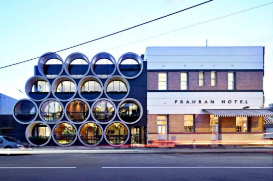 Prahran Hotel, Techne Architects, melbourne, bar, pub, pipes, recycled materials, reclaimed materials, daylighting