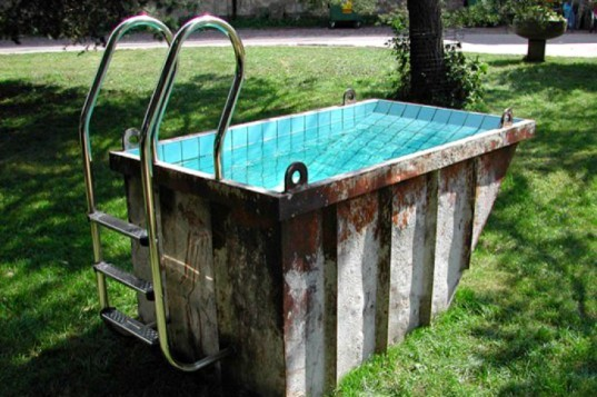 Recycled Pools, swimming pool, repurposed pool, repurposed swimming pool, dumpster pool, recycled materials, lousia dawson