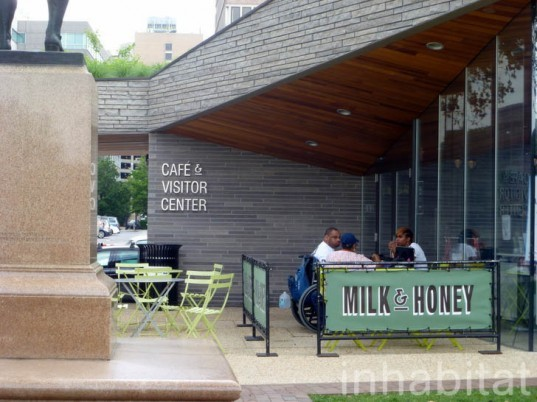 Sister Cities Park, Cafe Pavilion, DIGSAU, city center district, philadelphia, green roof, green-roofed cafe, philly, milk & honey,