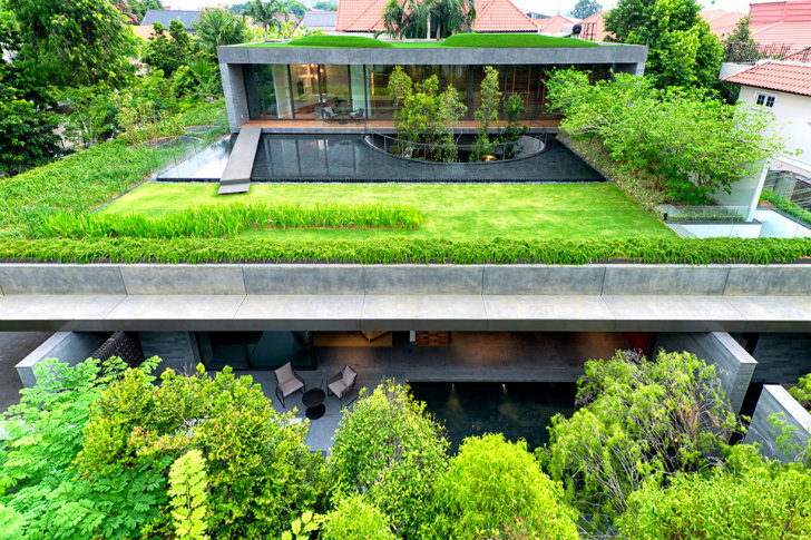Wall House: Stacked Double Home in Singapore is Topped With a Luscious Green Roof