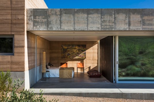 Tucson Mountain Retreat, DUST, tucson, desert architecture, rammed earth, rammed earth home, rainwater collection