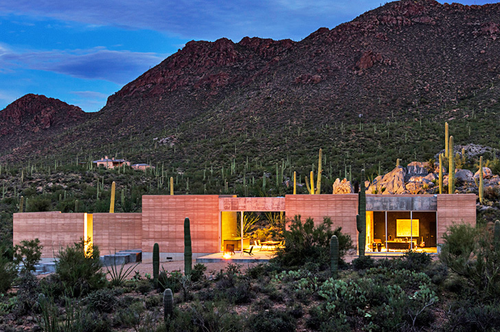 Rammed Earth Tucson Mountain Retreat Is Intimately