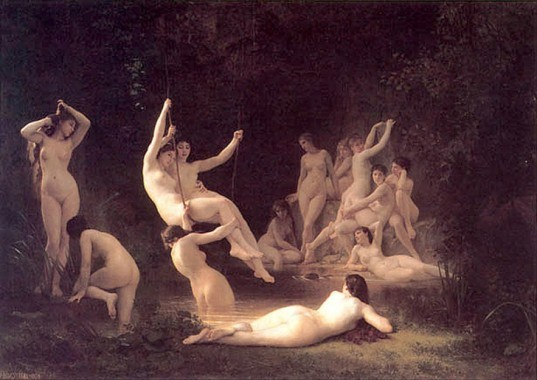 nymphs by bouguereau, nymphs painting, bouguereau painting