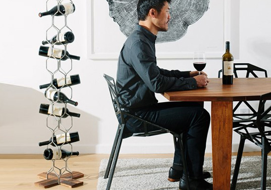 Derek Chen, Newton Vineyard, pino solo, recycled design, wine barrel furniture, green design, green furniture, eco furniture, sustainable design, pino solo, wine barrel wine rack, wine rack, green wine rack