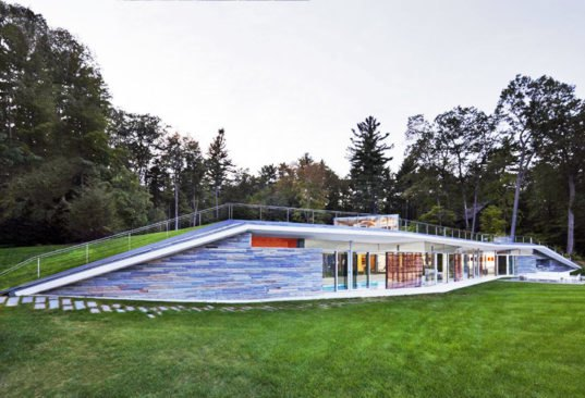 Gluck S Green Roofed Pavilion Pool House Melts Into The