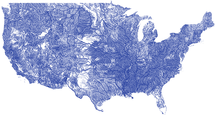 Nelson Minar Creates a Stunning Map Showing Every River in the US