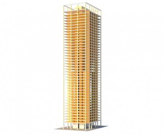 SOM, Skidwell, Owings & Merrill, timber tower research project, urban design, green design, sustainable design, eco-design, carbon footprint of buildings