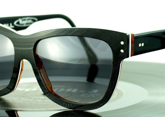 green design, eco design, sustainable design, recycled vinyl records, VInylize, Tipton Eyewear, recycled sunglasses