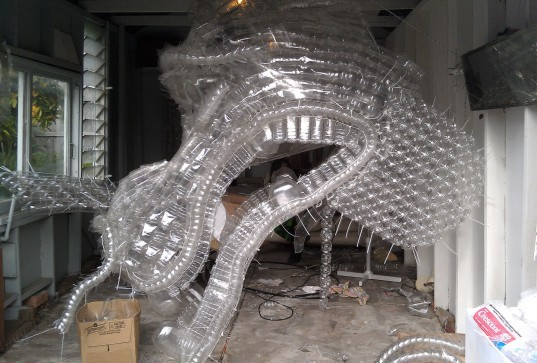 Claire Tracey Creates Giant Water Dragon Sculpture From