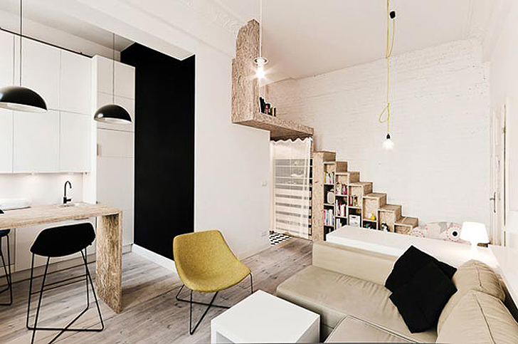 3xa maximizes tiny 312 square foot apartment by building vertically